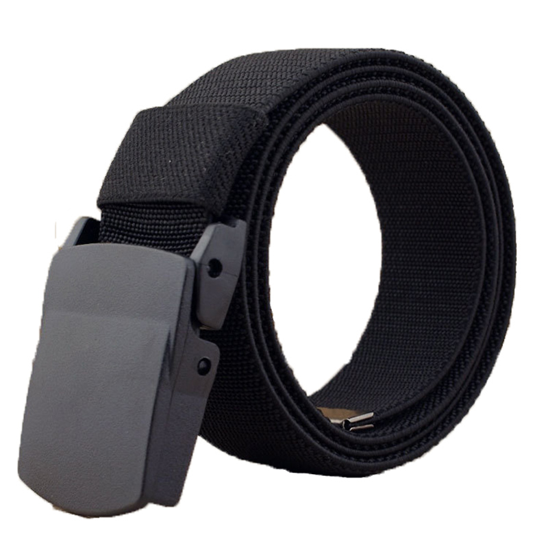 Casual 1.5'' Wide Canvas Breathable Belt, Plastic Press Buckle Belt, Men's Elastic Belts High Quality, Belt Size Up To 60''