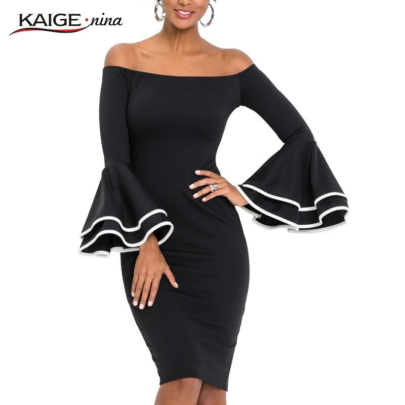 Kaige.Nina New Women's Fashion Vintage Solid  Slash  Neck Knee  Autumn  Sheath  Dress With  Flare   Sleeves 18007