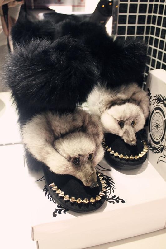 Bout Mode Renard Chaussures Slip Chaud Dames on Faits Fourrure Originaux D'hiver Plat Bottes De Main Femmes Rond Rivet Neige BxHwqRZ8