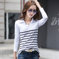 Korean Style New 2018 Spring Womens Fashion Slim Turn Down Collar Stripe Cotton White T Shirts Tops Ladies Casual Tees Wholesale