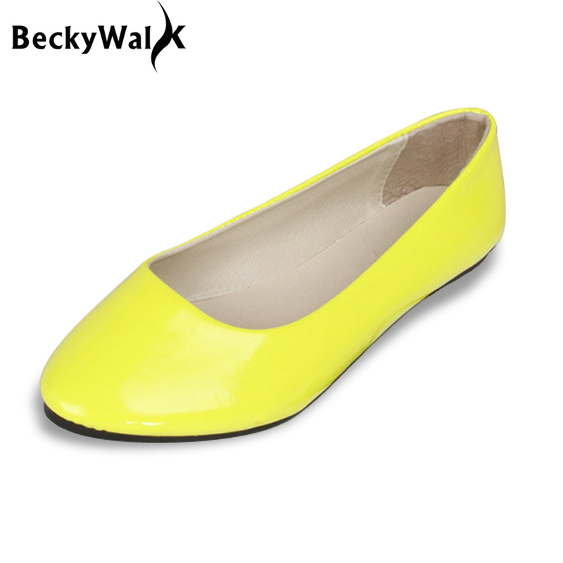 Candy Color Loafers Summer Ladies Flat Shoes Patent Leather Women Flats Comfortable Slip On Shoes Woman Plus Size EU42 WSH2215