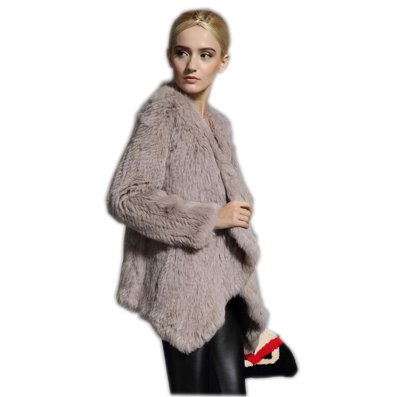 New Knitted Real Rabbit Fur Coat Overcoat Jacket With  Fur Collar Russian Women's Winter Thick Warm Genuine Fur Coat Customized