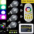 4x 2.4G E27 12W RGB+White(RGBW) or RGB+Warm White(RGBWW) WiF LED Bulb +4-Zone RF Touch Scree Remote Controller + Wifi Controller