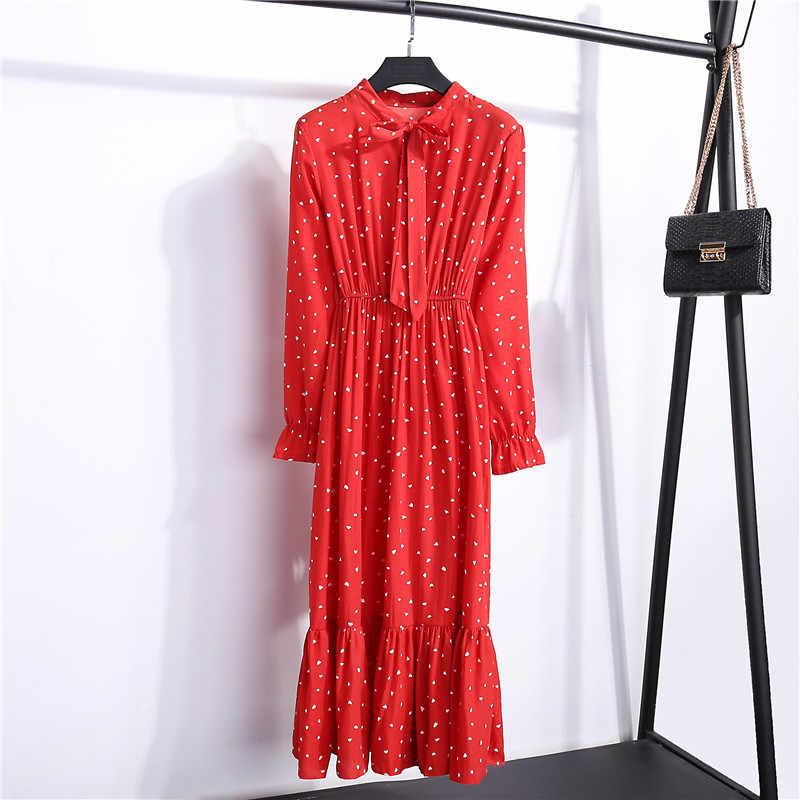 4b5ab1b7a34 ... Осенняя шифоновая рубашка Платья офисные клетчатые в горошек винтажные  платья женские платья 2019 Весна Повседневные красные