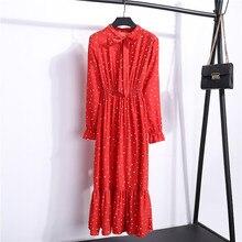 Polka Dot Spring Midi Floral Print Long Sleeve Dress SF