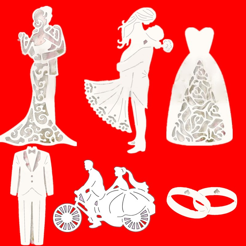 Wedding Couple Bride And Groom Metal Cutting Dies Stencils For DIY Scrapbooking Cards Decorative Embossing Handcraft Die Cuts(China)