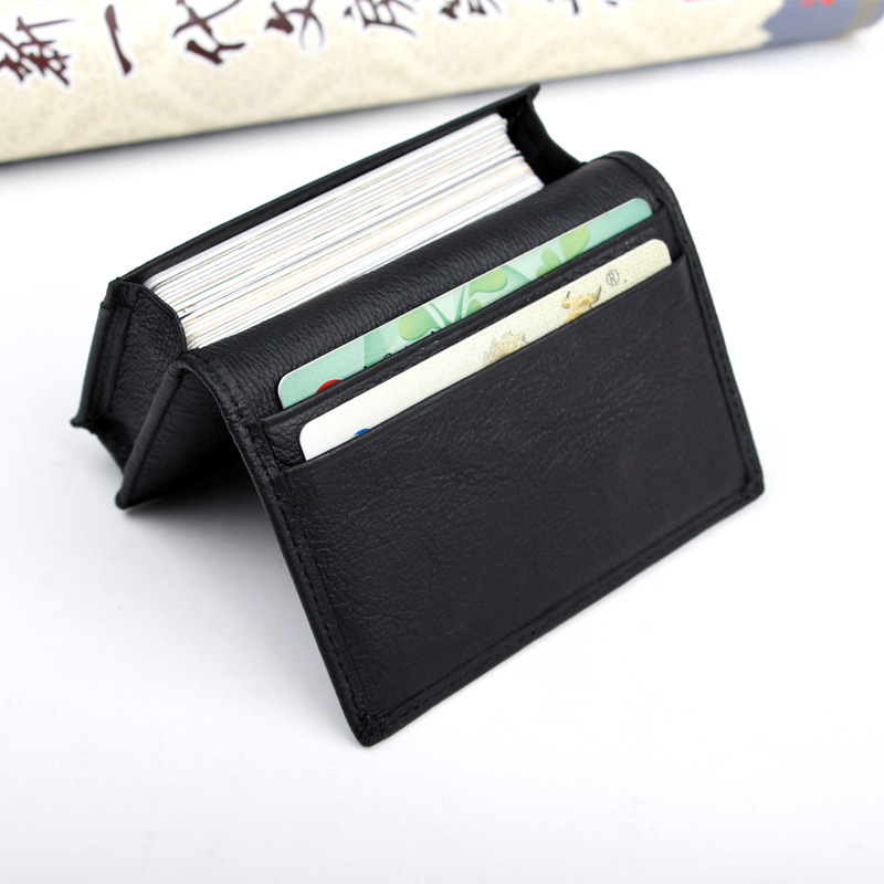 Genuine Leather Business Card Holder Men Small Wallet For Credit Cards Bank Cardcase Top Cow Leather Cardholder Cards Organizer