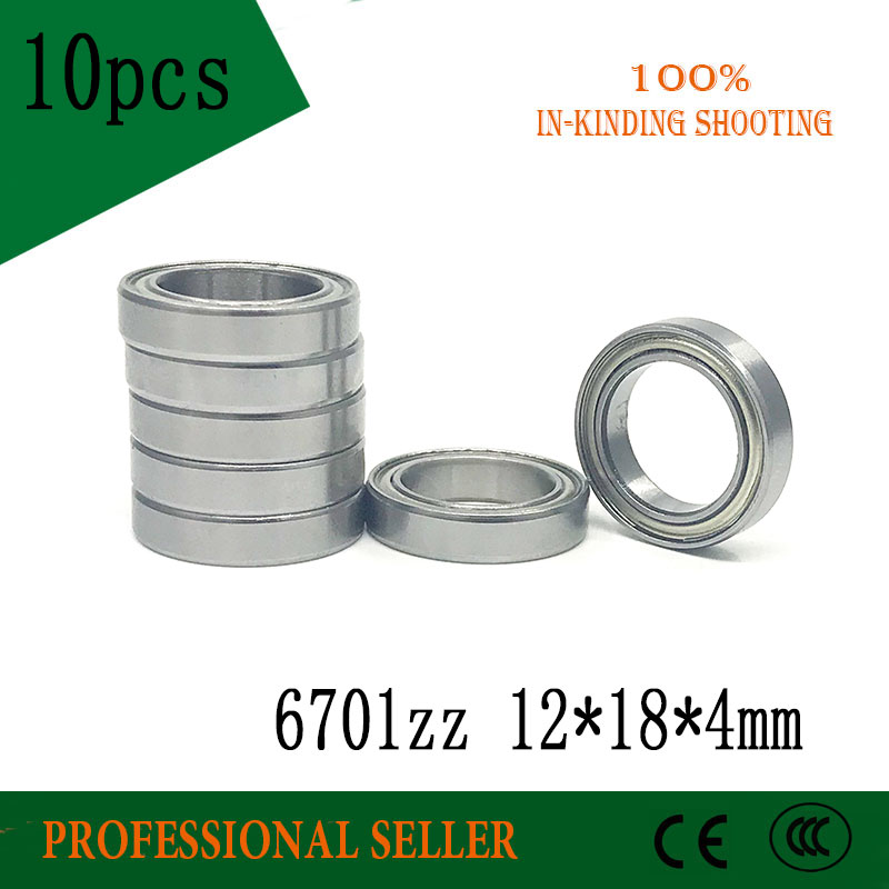 10pcs 6701ZZ Bearing ABEC-1  12x18x4 Mm Thin Wall Section 6701 ZZ Ball Bearings 61701ZZ 6701Z