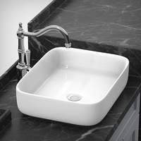 Ceramic washbasin bathroom vanity above counter basin sink square bathroom white washbasin wx11191847