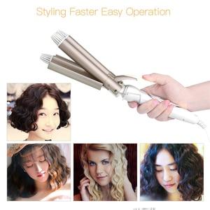 Image 5 - 110 220V סד 3 חביות שיער קרלינג ברזל קרמיקה לשלושה חבית שיער Curler שיער להסס שיער Styler סטיילינג אבזר כלי P46