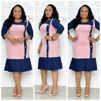 New style African Women clothing Dashiki fashion Print cloth Pleated skirt Take the belt stretch dress size L XXXL XL486