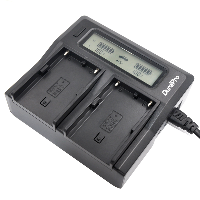 DuraPro LCD Dual Channel font b Charger b font for Sony BP U30 BP U60 BP