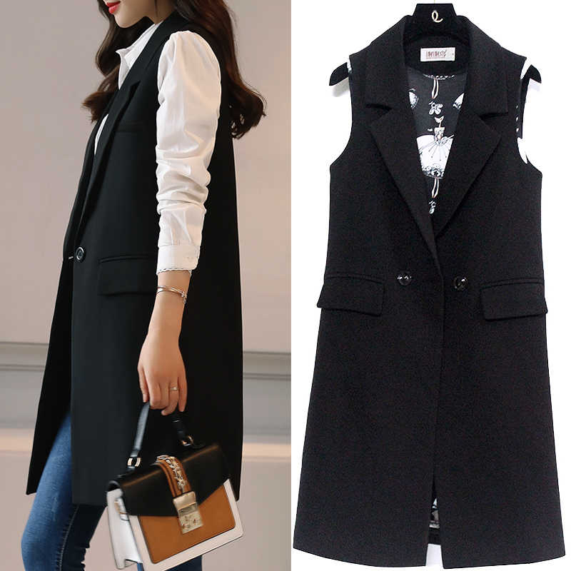 fashion British Style Slim Sleeveless vest Women's large size suits vest spring and autumn vest long section of the jacket