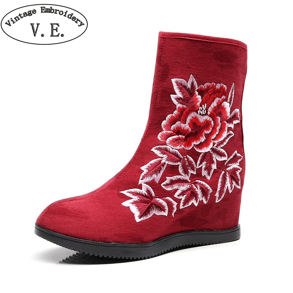 Hot Sale Womens High Heel Ankle Boots Ladies Floral Embroidered Detail Short Chunky Boot Shoes Woman Winter Pump Zapatos Mujer Tacon