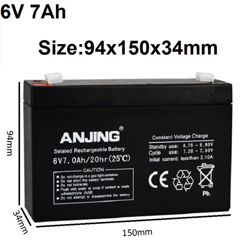 6V 7AH Seal Storage Batteries 6V7AH Chargeable Batteries Lead-acid Battery for Children's Electronic Toy Car Desk Lamp LED Light