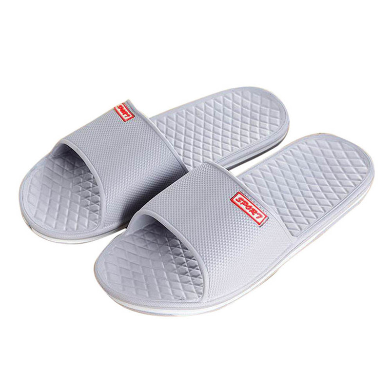Men Solid Flat Bath Slippers Summer Sandals Indoor & Outdoor Slippers Casual Men Non-Slip Flip Flops Beach Shoes Size41-44 men s slippers beach sea leisure shoes non slip bottom of the massage indoor and outdoor take a shower sandals hot selling