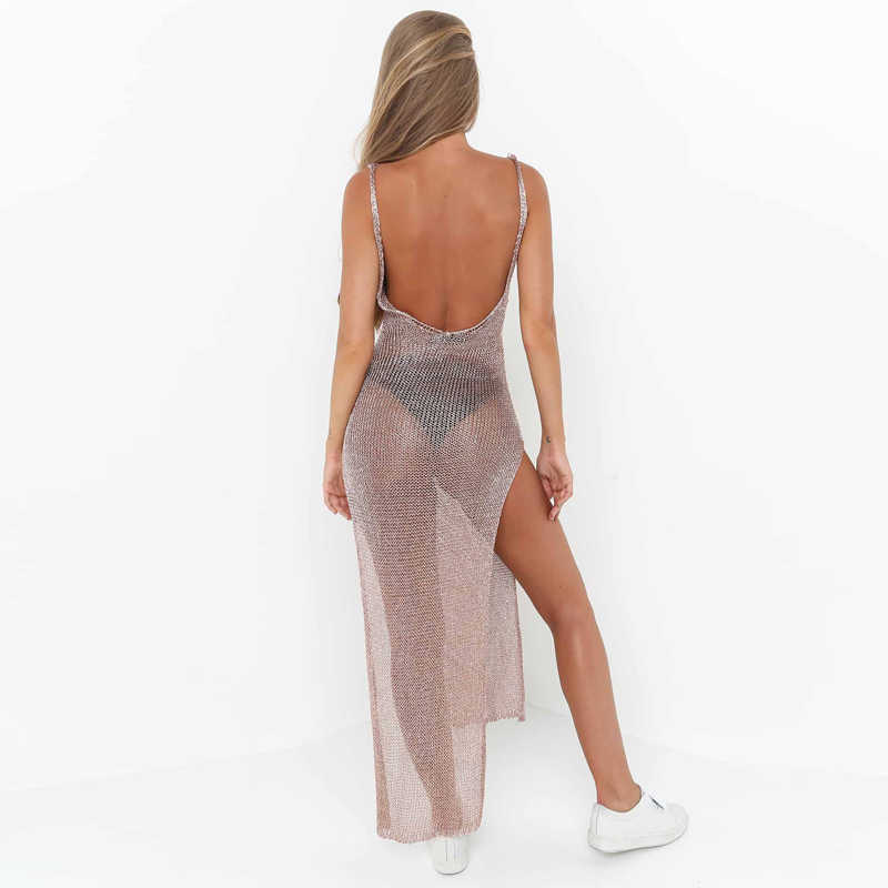 f6f9440ef6 ... Sexy See Through Bodycon Dress Women Sleeveless Mesh Backless Split  Summer Party Golden Long Camis Dress ...