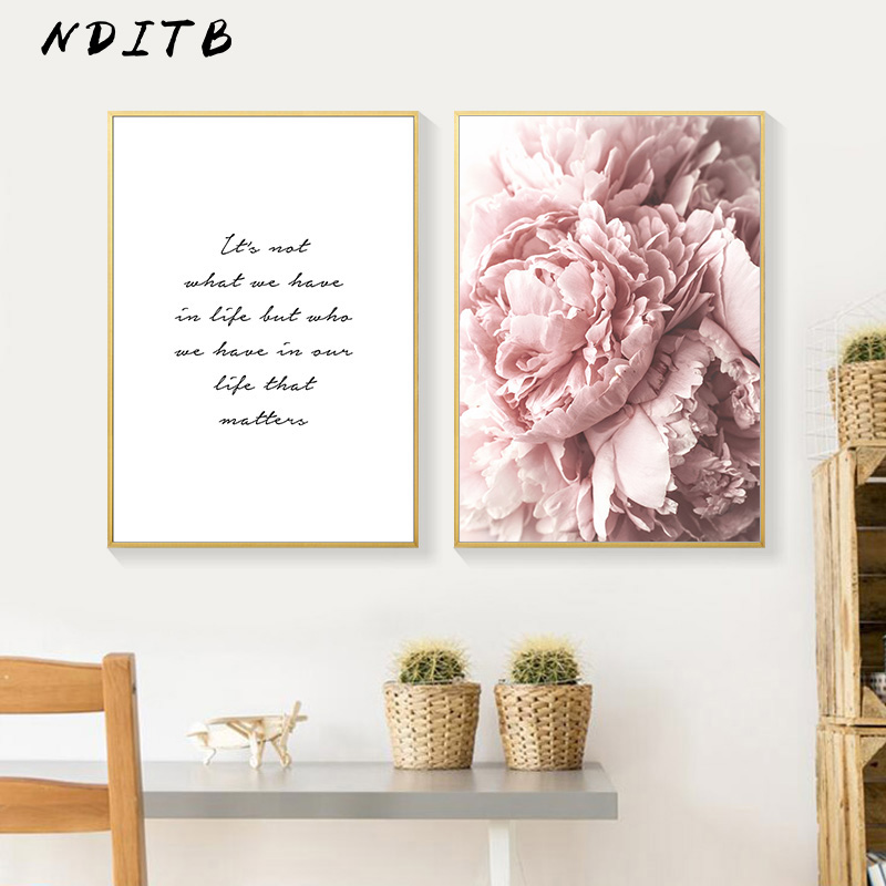 HTB1qa5GXPzuK1Rjy0Fpq6yEpFXan Scandinavian Art Flower Canvas Poster Pink Peony Floral Print Painting Nordic Style Wall Picture Modern Living Room Decoration