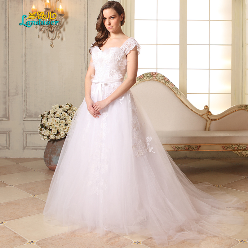 Classic Cap Sleeve Wedding Dress Delicate Embroidered