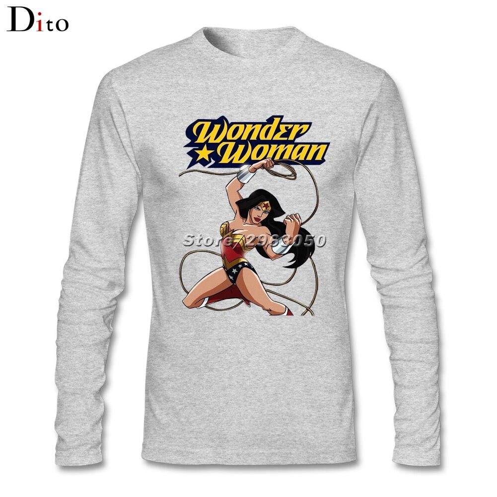 Дизайн Wonder Woman футболка Для мужчин с длинным рукавом хлопок Пользовательские его и ее Принцесса Диана из themyscira под футболки