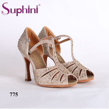 Special Free Shipping 2017 Suphini Latin Dance Shoes Full Crystal Mesh Latin Dance Shoes Woman Salsa