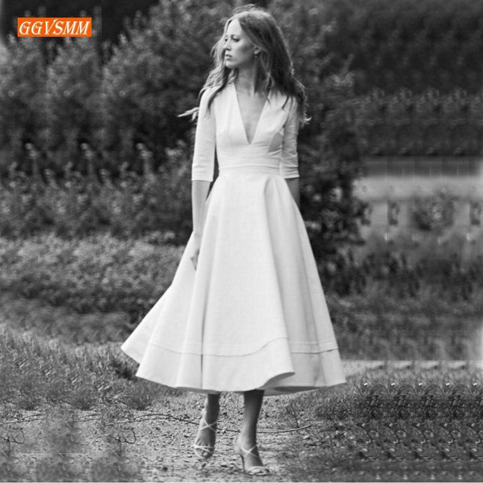 Fashion BOHO Ivory Wedding Dresses 2019 Wedding Gowns Women Party Bohemian V-Neck Stretch Fabric Tea Length Formal Bridal Dress