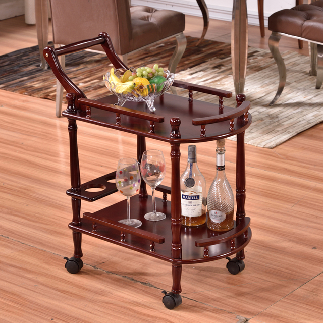 Superior European Style Solid Wood Dining Car In Restaurant Moving Rack For Barrow  Drinks Tea Trolley Dessert