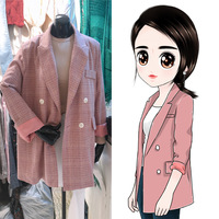 New Women pink Plaid suit jacket Office Lady Blazer Jacket Fashion Notched Collar Work Suit Elegant Work Blazers Feminino