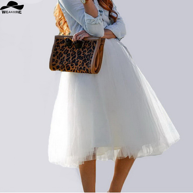 Новый Puff Женщины Шифон Тюль Белая Юбка faldas Высокой талией Midi Теленок Шифон плюс размер Гранж Юп Женский Пачка Юбки