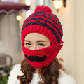 One Set Beanies and Mask Cute Girls Winter Caps Lovely Pom Pom Hat Women Balaclava Colorful Knitted Beanies