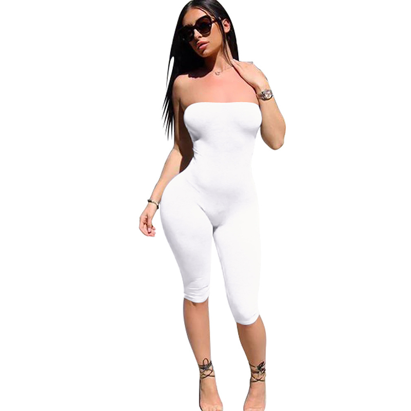 Rompers Bodycon New Casual Womens Jumpsuit Women Sexy 2019 Sleeveless Jumpsuit Clothes Rompers New Club Solid Black Strapless