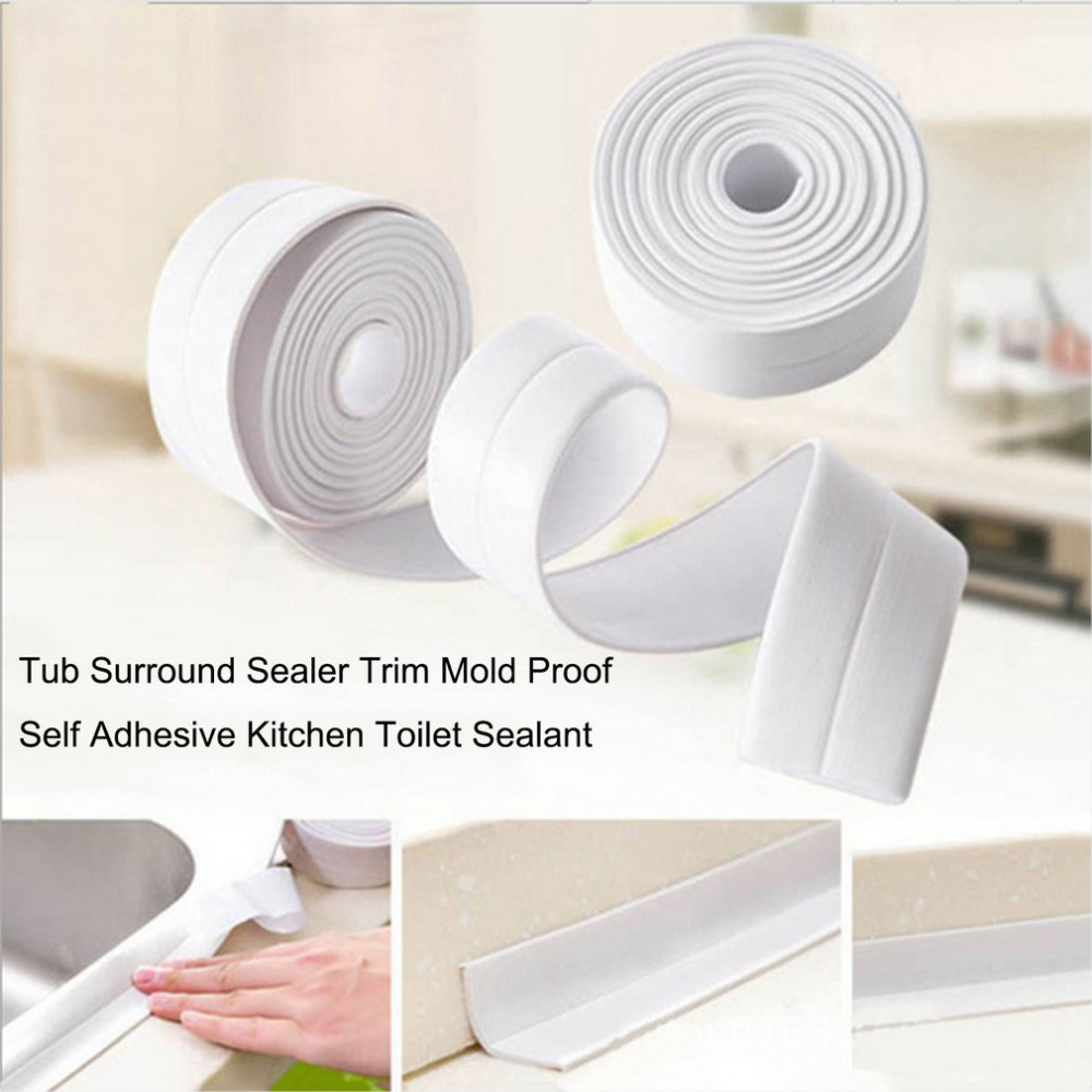 Wall Caulk Tub Surround Sealer Trim Waterproof Mold Proof Self Adhesive Tape Kitchen Bathroom Toilet Sealant Household