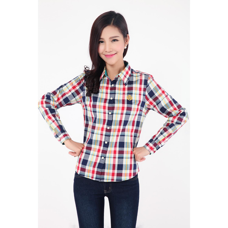 4320dc1925c7 Autumn And Winter Fashion Women's Tops And Blouses Long Sleeve Cotton Blouse  Women Plaid Shirt Ladies