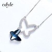 Cdyle Crystals from Swarovski Necklace Women Pendants S925 Sterling Silver Fashion Jewelry Butterfly Shape Austrian Rhinestone