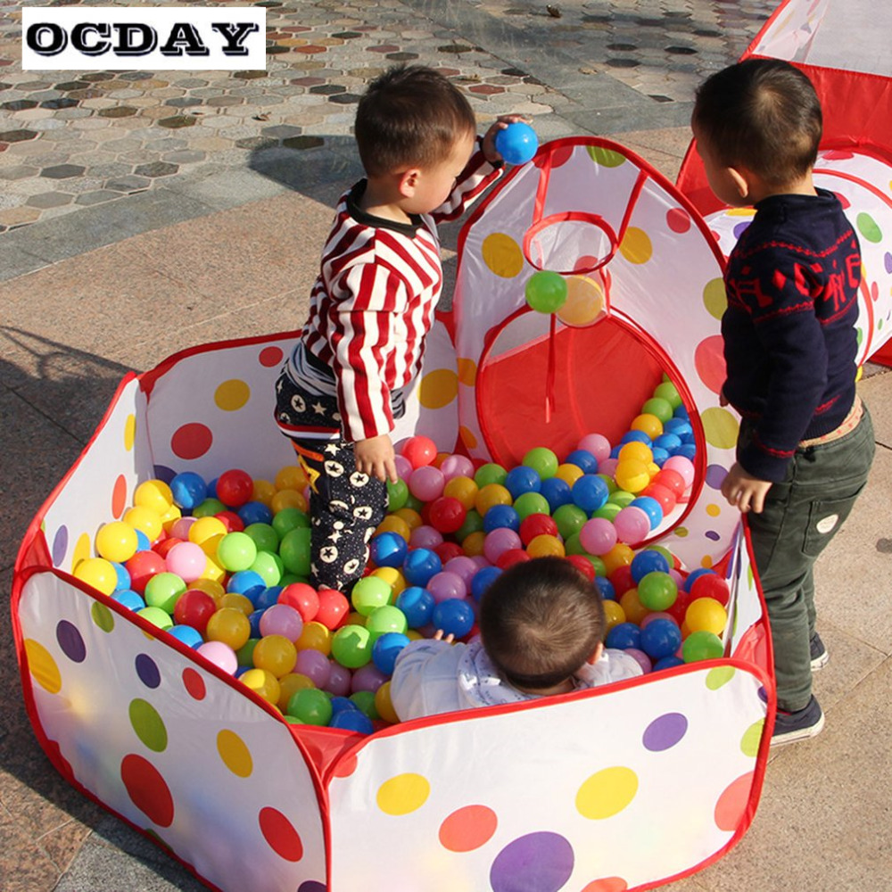 OCDAY 3 in 1 Toys Tent for Children Kids Portable Pop Up Tunnel Basketball Game Outdoor Baby Play House Hut Foldable Toys Tents 3 in 1 portable baby playpen children kids ball pool foldable pop up play tent tunnel play house hut indoor outdoor toys fancing