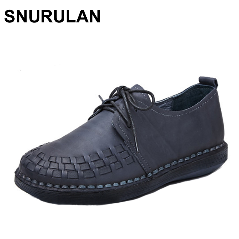 SNURULAN Genuine Leather Oxford Shoes For Women Round Toe Lace-Up Casual Shoes Spring And Autumn Flat Loafers Shoes HandmadeFlat fevral fashion genuine leather oxford shoes for women round toe lace up casual shoes spring and autumn flat loafers shoes 35 44