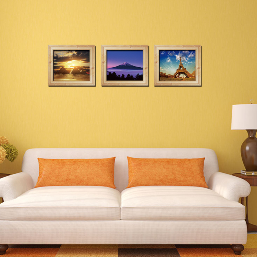 Creative 3D Frame Landscape Wall Stickers For Living Room Stairs ...
