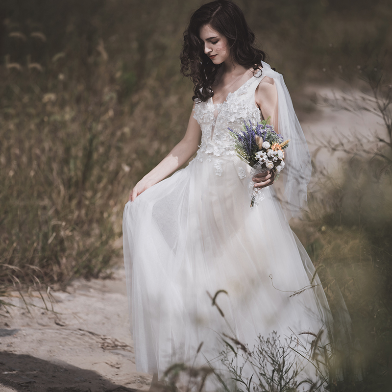 Reception Wedding Dress For Bride V-neck Backless Sexy Bridal Dresses Applique Lace Weddings & Events