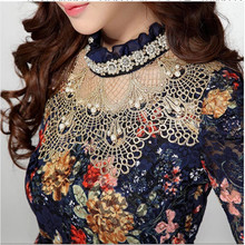 2017 Autumn Women's Lace Shirt Female Lace Blouses Long-sleeve Hollow Floral Lace Tops Slim Elegant Beaded Gauze Chiffon Shirts