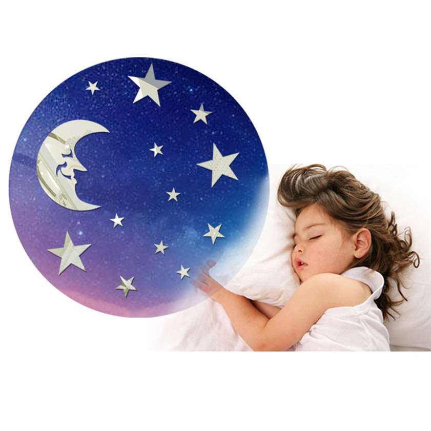 Wallpaper Sticker Design Fashion Moon Star DIY Mirror Mirrors Wall Sticker Home Decoration Wallpapers For Living Room B#