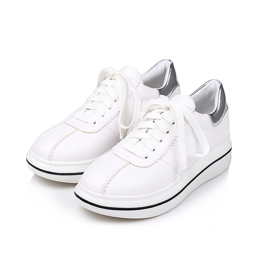 Spring Autumn New Designer Wedges White Lace-Up Platform Sneakers - Zapatos de mujer - foto 4