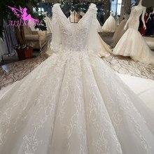 AIJINGYU цена винтажные платья для невесты реальные изображения Элегантные Роскошные Свадебные магазины лучшие кружевные свадебные платья