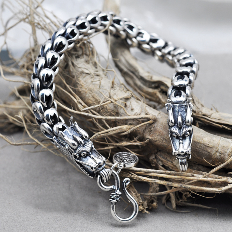 Écaille de Dragon Bracelet Chaîne Réel Pur 925 Sterling Argent Double Têtes Vintage Punk Rock Rétro Style Hommes Bijoux