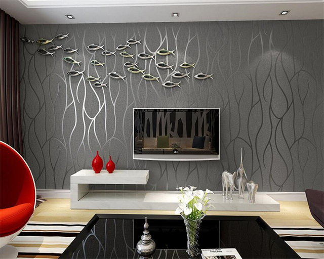 Beibehang Wallpaper contemporary and contracted sitting room TV ...