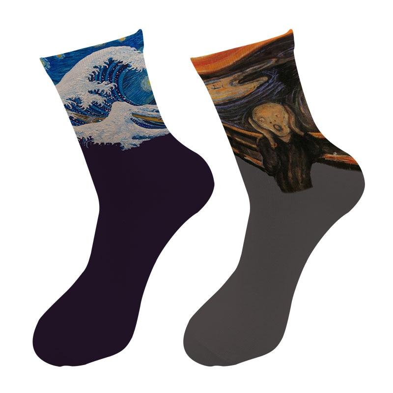 New 3d Printed Retro Painting Art The Scream Crew Socks Men Starry Night Wave Long Socks Edvard Munch Oil Painting Tube Socks