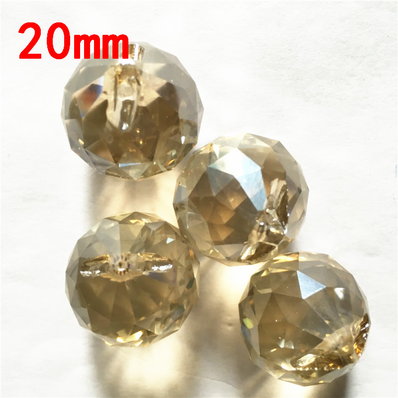 High Quality Cognac 195PCS/Lot 20mm Crystal Ball Crystal Faceted Chandelier Pendant Bead Strand Pendant DIY Wedding Decoration