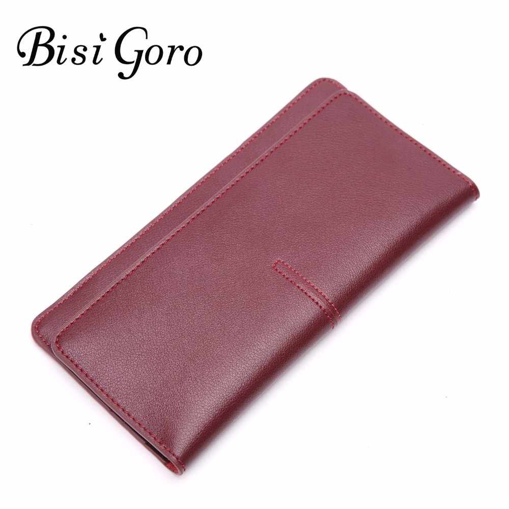 Bisi Goro Fashion Women Wallets Cowhide Leather Long Design Casual 2018 Female Purses Good Quality Leather Wallets Ladies Purse