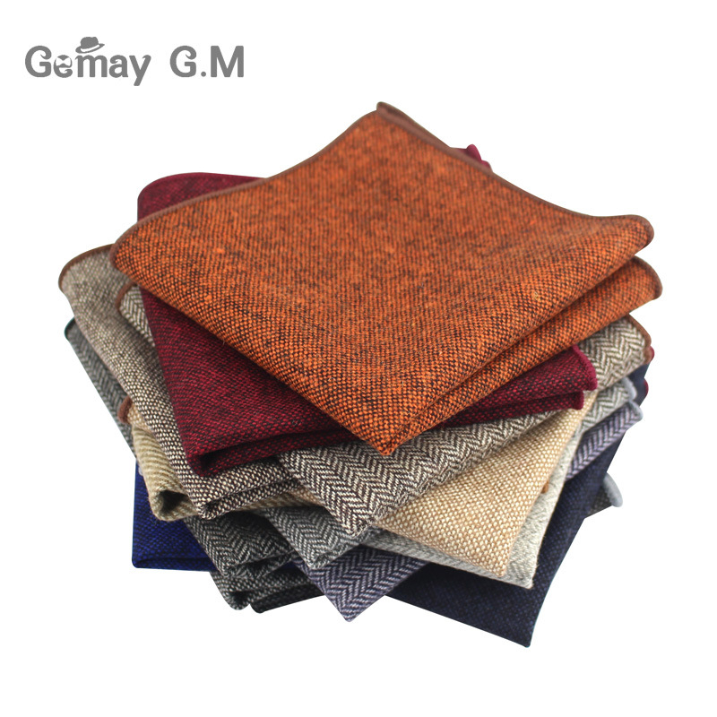High Quality Hankerchief Scarves Business Suit Hankies Wool Casual Mens Pocket Square Solid Handkerchiefs For Wedding 23*23cm