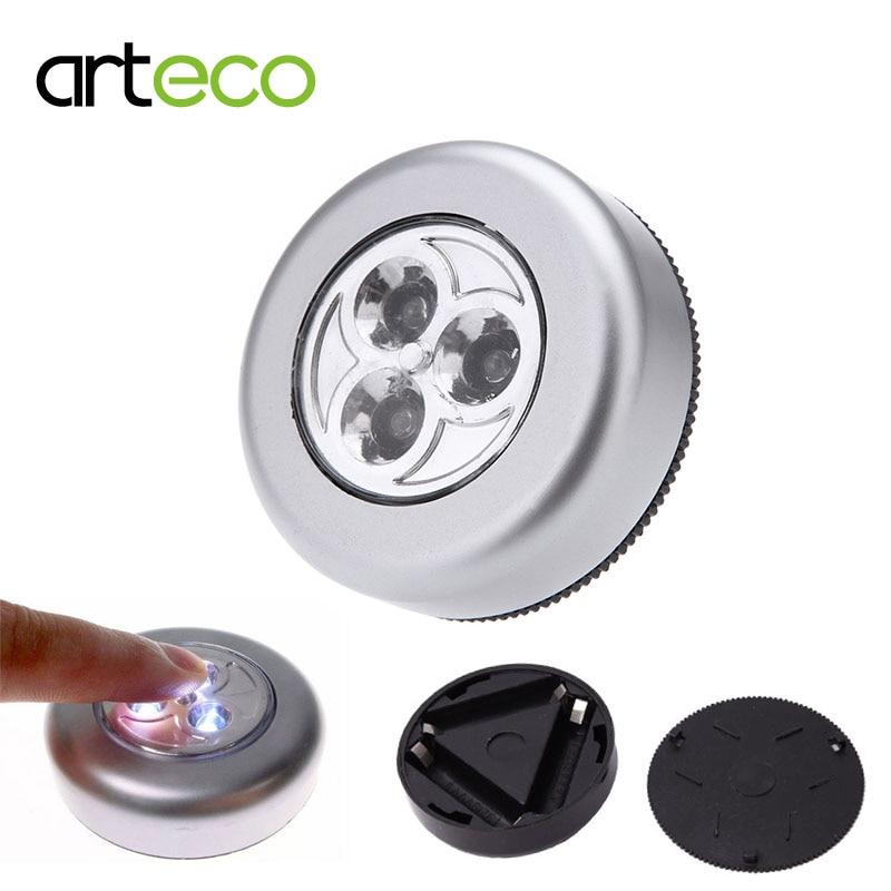 Battery LED Touch Night Light 3leds Touch sensor Lamp Mini Wall Lamp Cordless Stick Tap for Wardrobe Cabinet Light