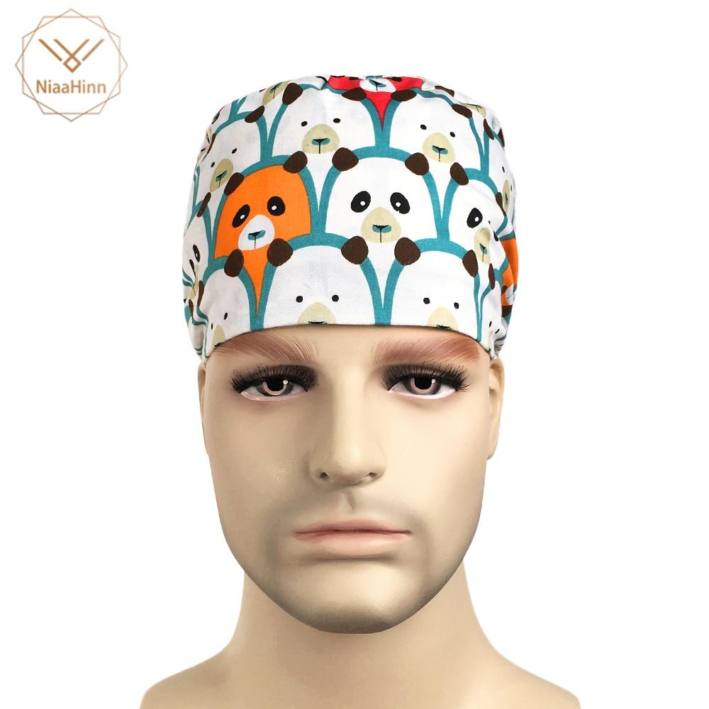 Cotton Breathable Surgical Caps Cute Cartoon Print Hospital Hat Women Medical Cap Nurse Hats Head Medical Beauty Salon Work Cap